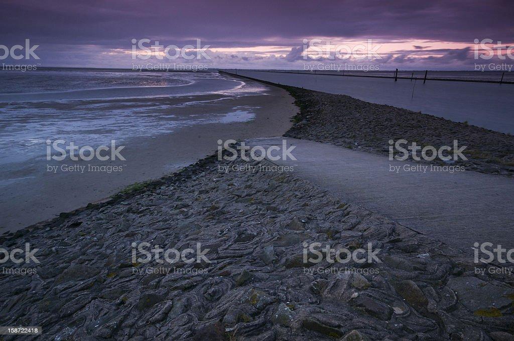 sundown in East Frisia beach royalty-free stock photo