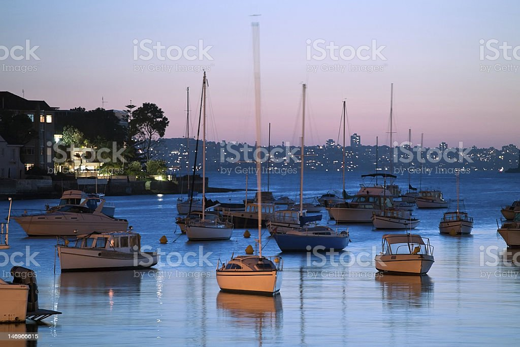 Sundown on Sydney Harbour stock photo