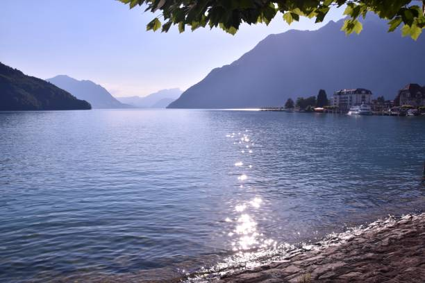 Sundown over Lake Lucerne stock photo