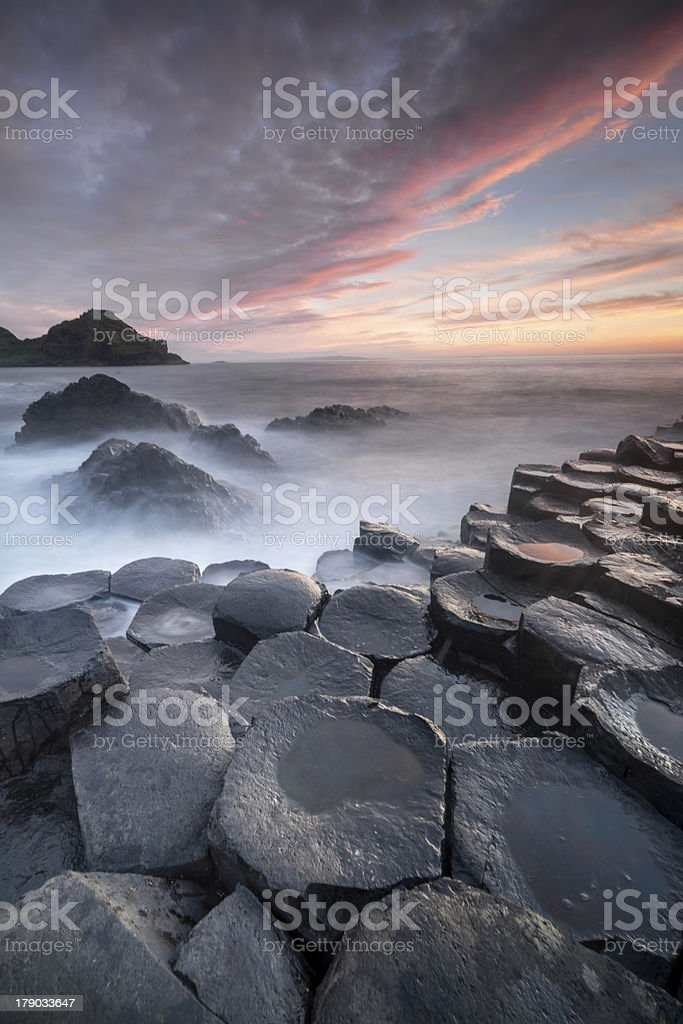 Coucher de soleil sur la Chaussée des géants, Irlande du Nord - Photo