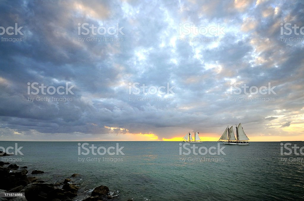 Sundown Schooners in Key West stock photo