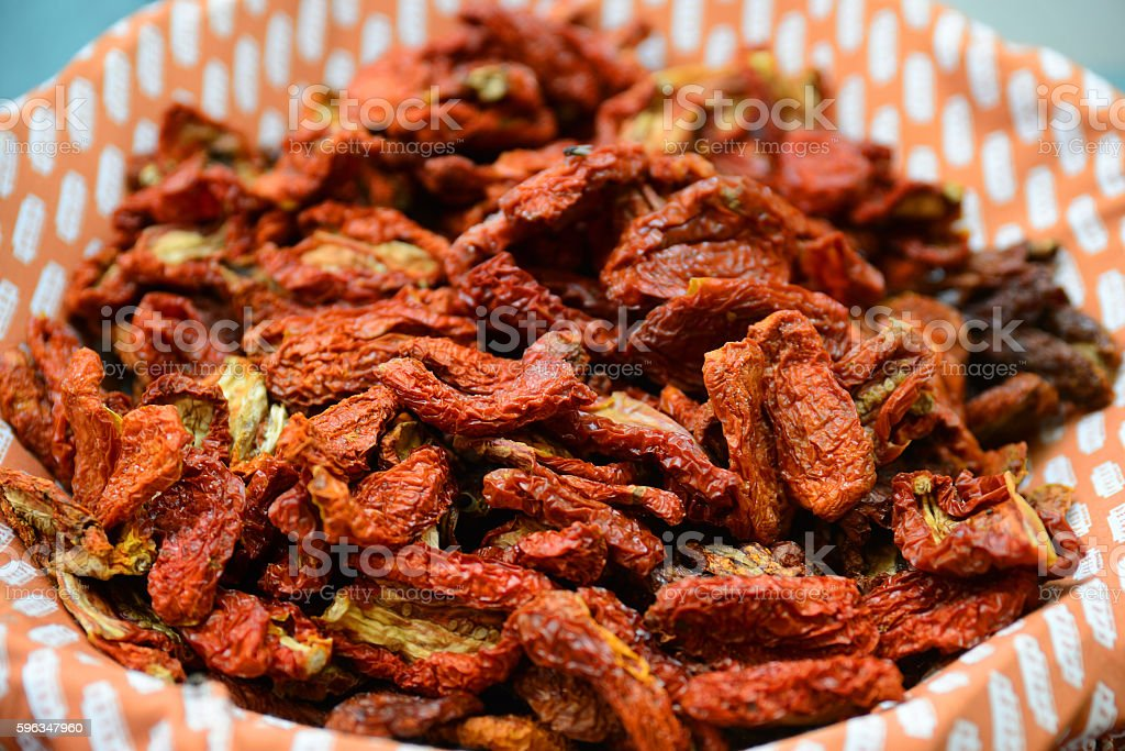 Sun-dried tomatoes from top view royalty-free stock photo