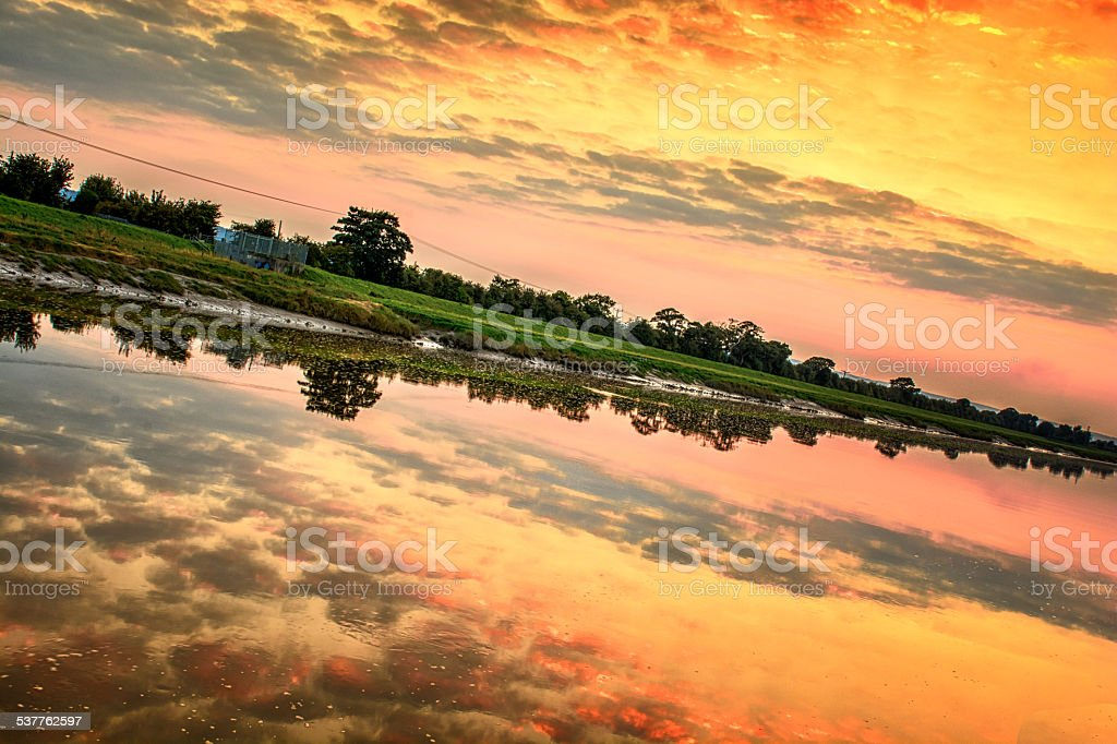 Sunet on the River Dee in Chester stock photo