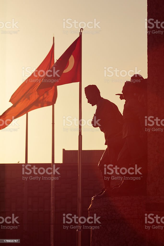Sunflare at Independence Monument at Taksim Square, Istanbul stock photo