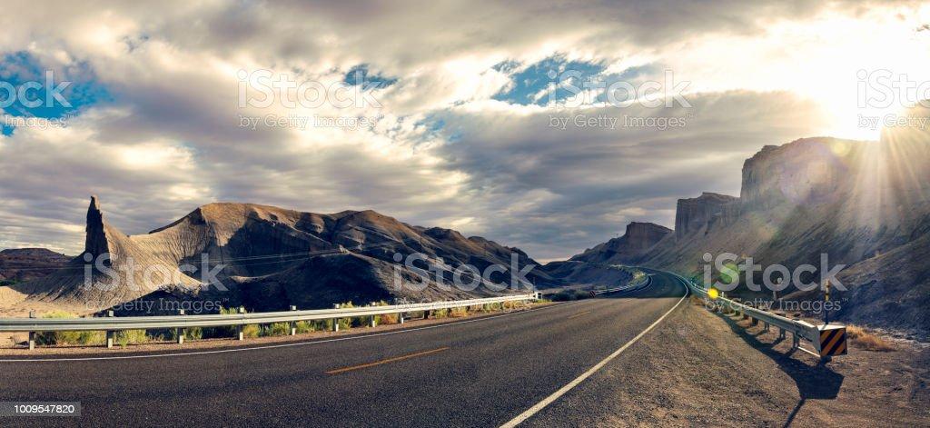 Sunflare over Highway 24, Utah stock photo