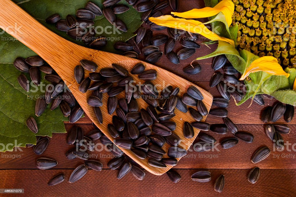 Sunflower and seeds on wooden background stock photo