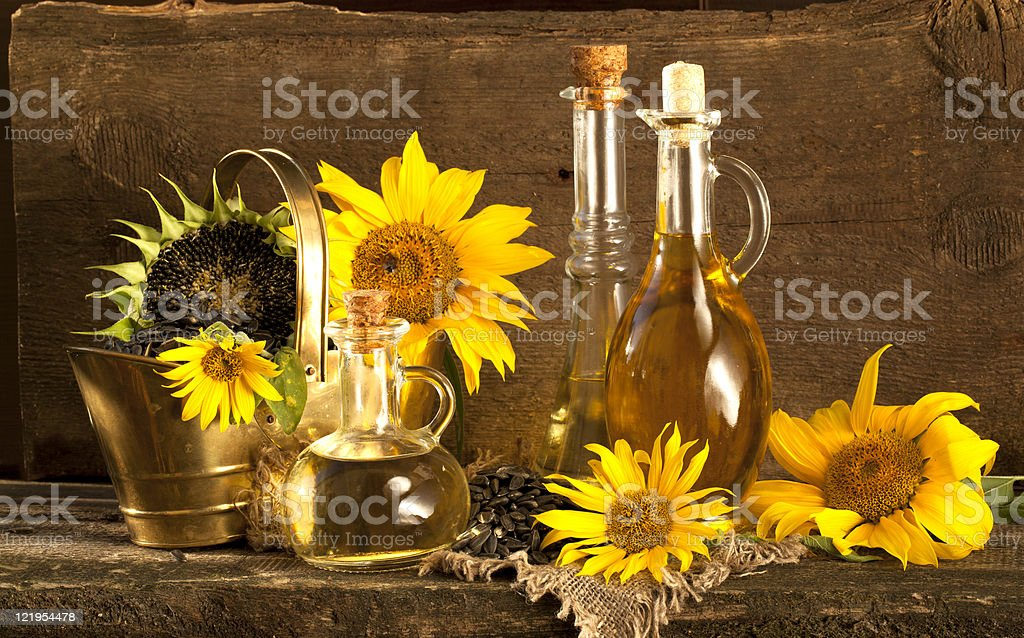 sunflower and vegetable oils royalty-free stock photo