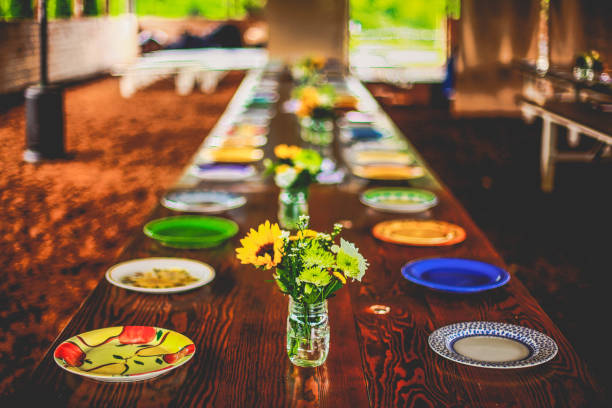 sunflower banquet table setting - long stock pictures, royalty-free photos & images
