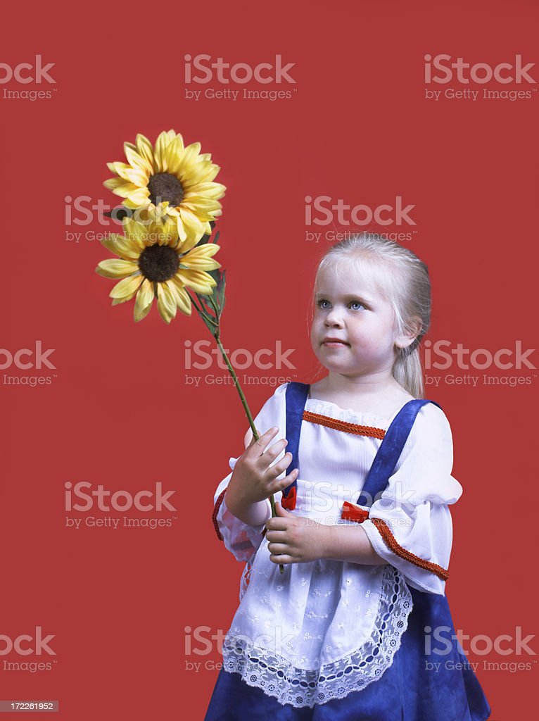 Sunflower girl royalty-free stock photo