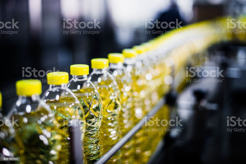 Sunflower Oil Factory, Close-Up, High Iso, Selective Focus stock photo