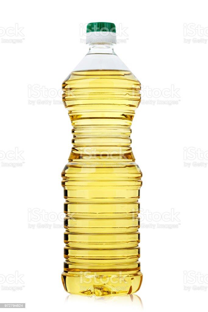 Sonnenblumenöl in einer Flasche auf einem weißen Hintergrund isoliert. - Lizenzfrei Abnehmen Stock-Foto