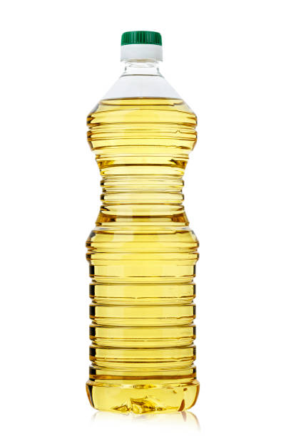 sunflower oil in a bottle on a white background, isolated. stock photo