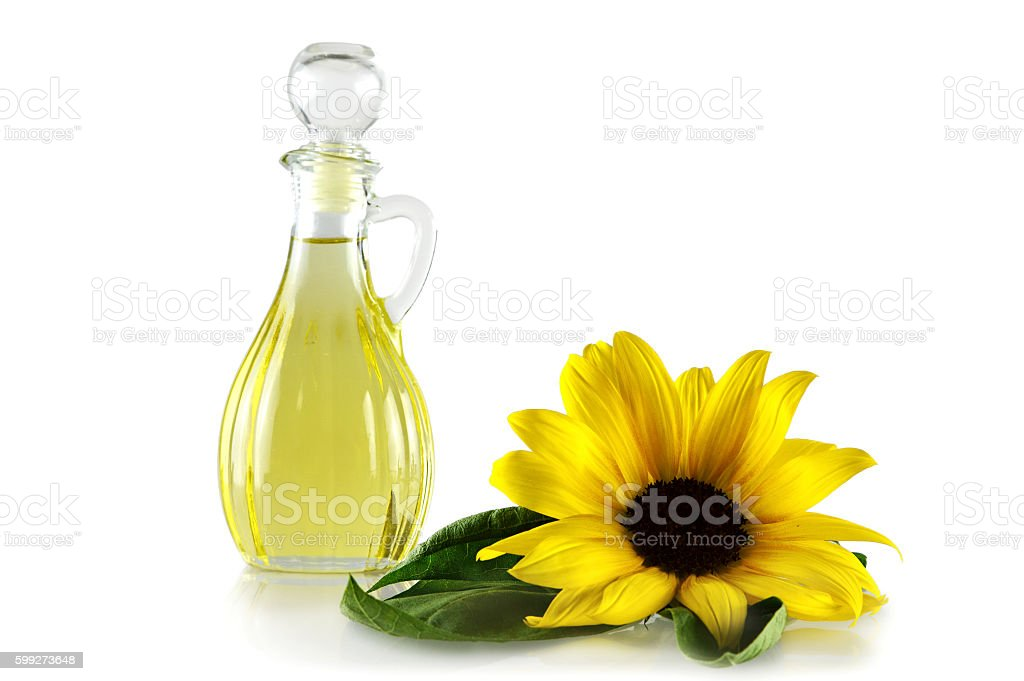Sunflower oil in a decanter isolated on white - foto de stock