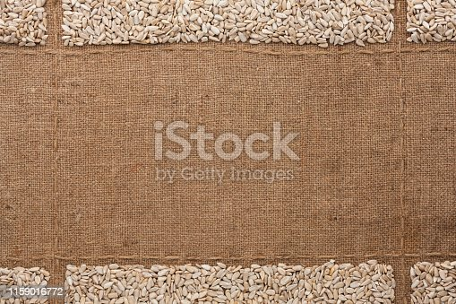 Sunflower seeds on burlap, with place for text. Top view. Copy space