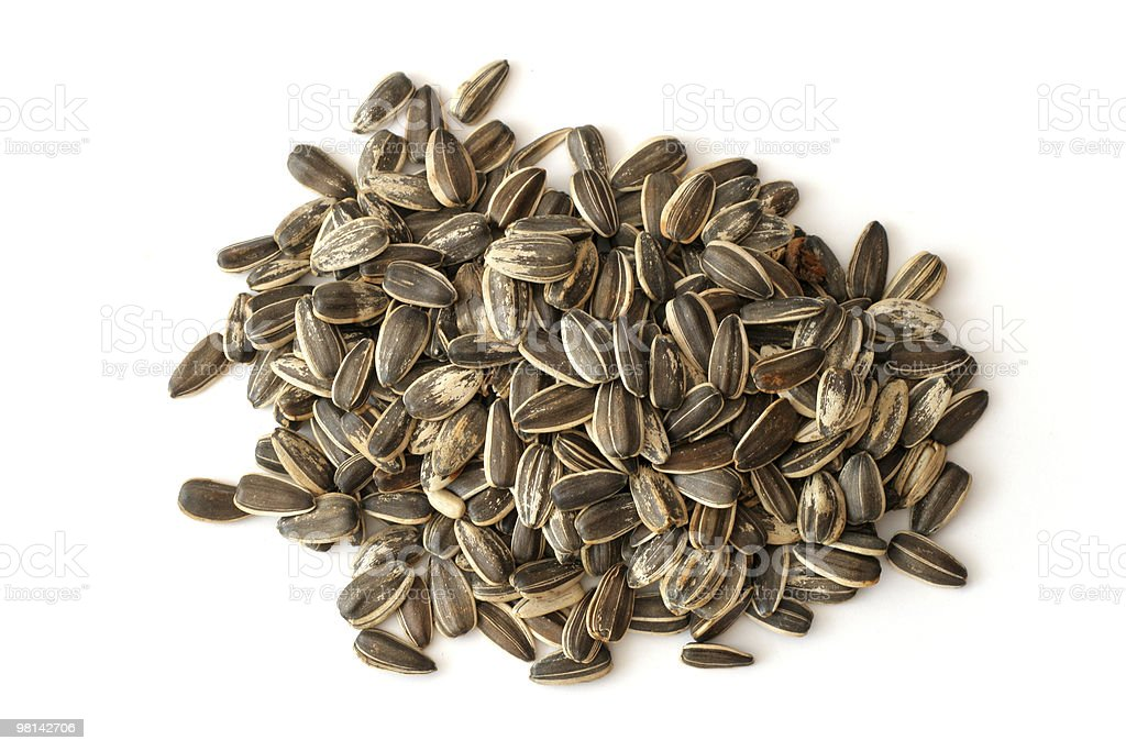 Sunflower seeds on white background royalty-free stock photo