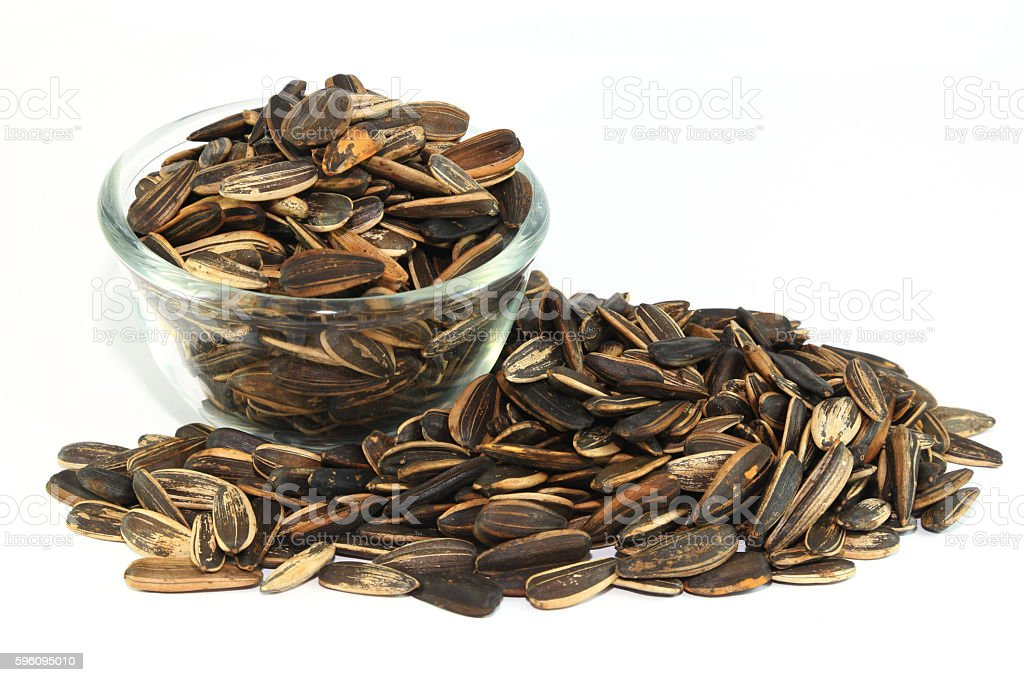 Sunflower Seeds on white royalty-free stock photo