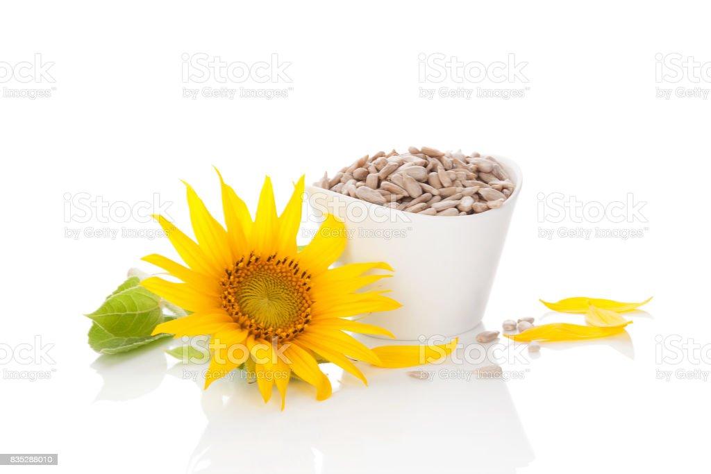 Sunflower seeds over white. stock photo