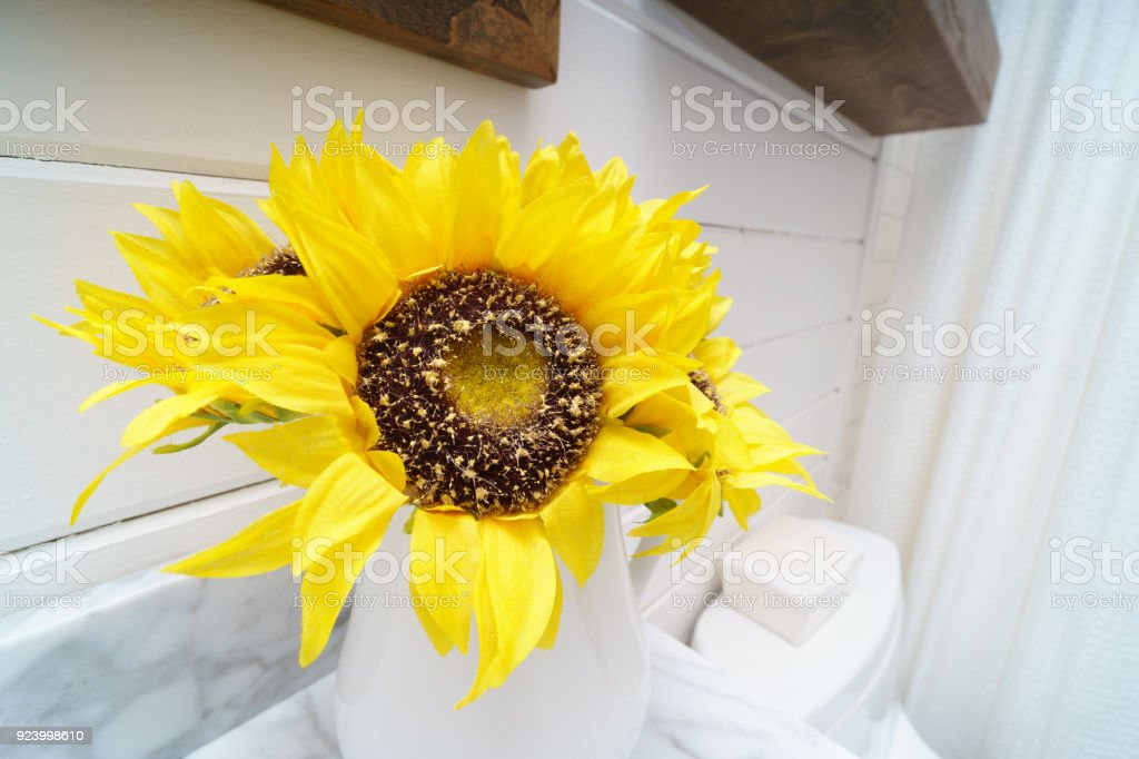Sunflower Vase In Bathroom Stock Photo More Pictures Of
