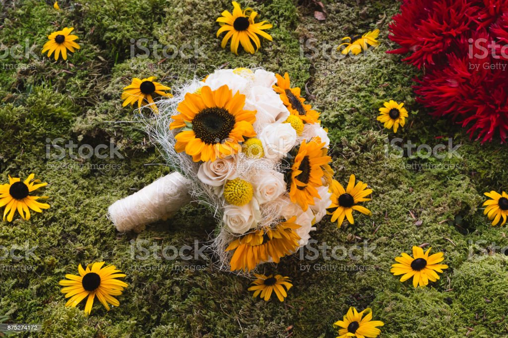 Sunflower White Roses Wedding Bouquet Stock Photo More Pictures Of