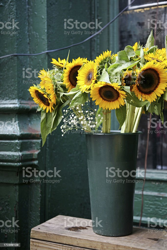 Sunflowers In Market Stall royalty-free stock photo