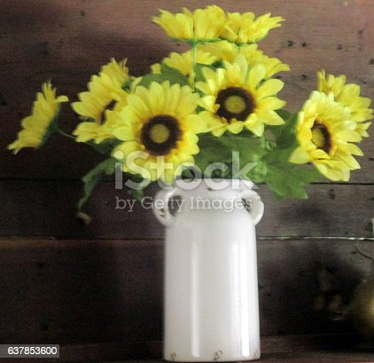 Sunflowers In White Crock Against Rustic Wooden Wall Stock Photo & More Pictures of Arrangement