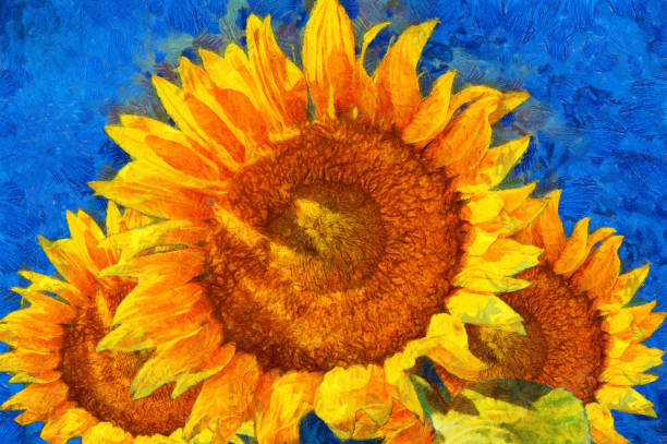sunflowers.van gogh style imitation. - impressionist painting stock photos and pictures