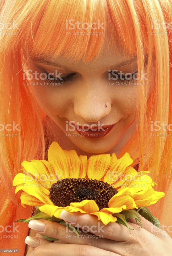 sunfower girl royalty-free stock photo