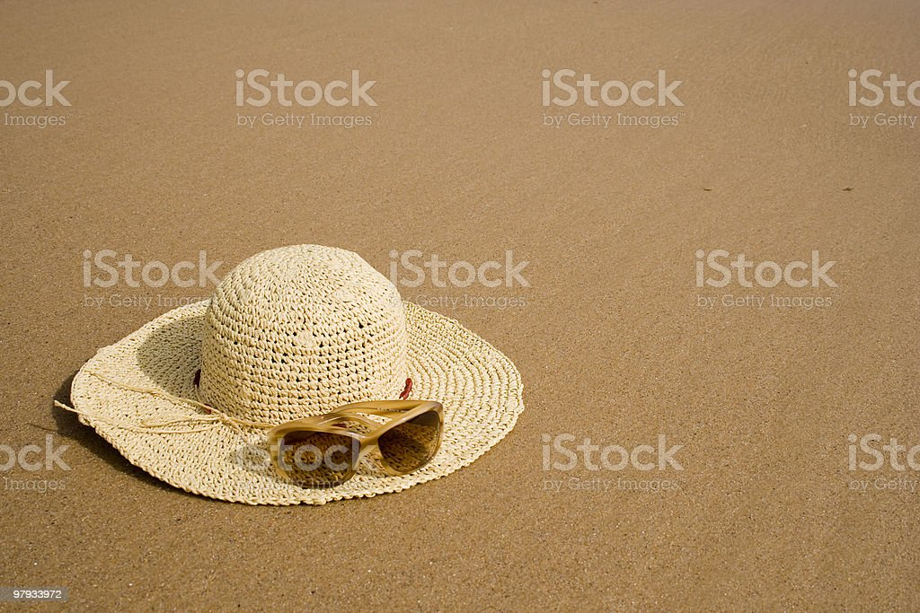 sunglass and summer hat royalty-free stock photo