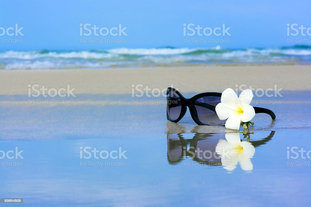 Sunglasses and flower royalty-free stock photo