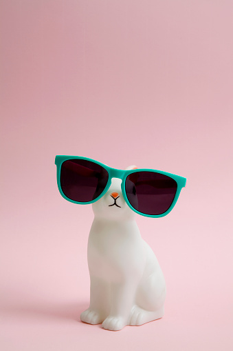a cute white plastic bunny wearing sunglasses on a pink background.