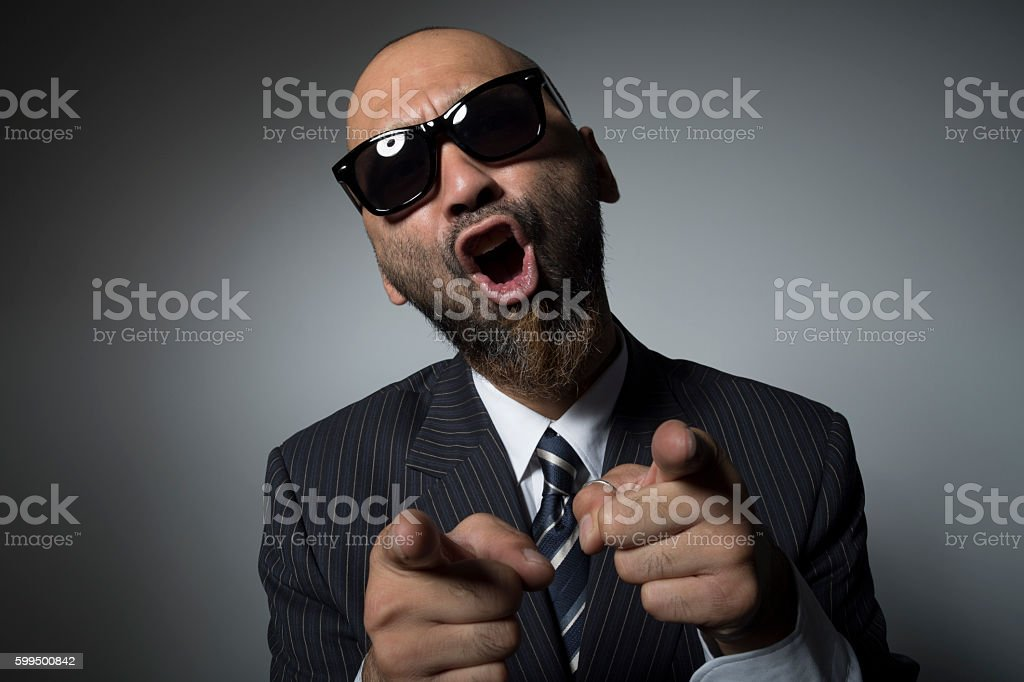 sunglasses Businessman is screaming. stock photo