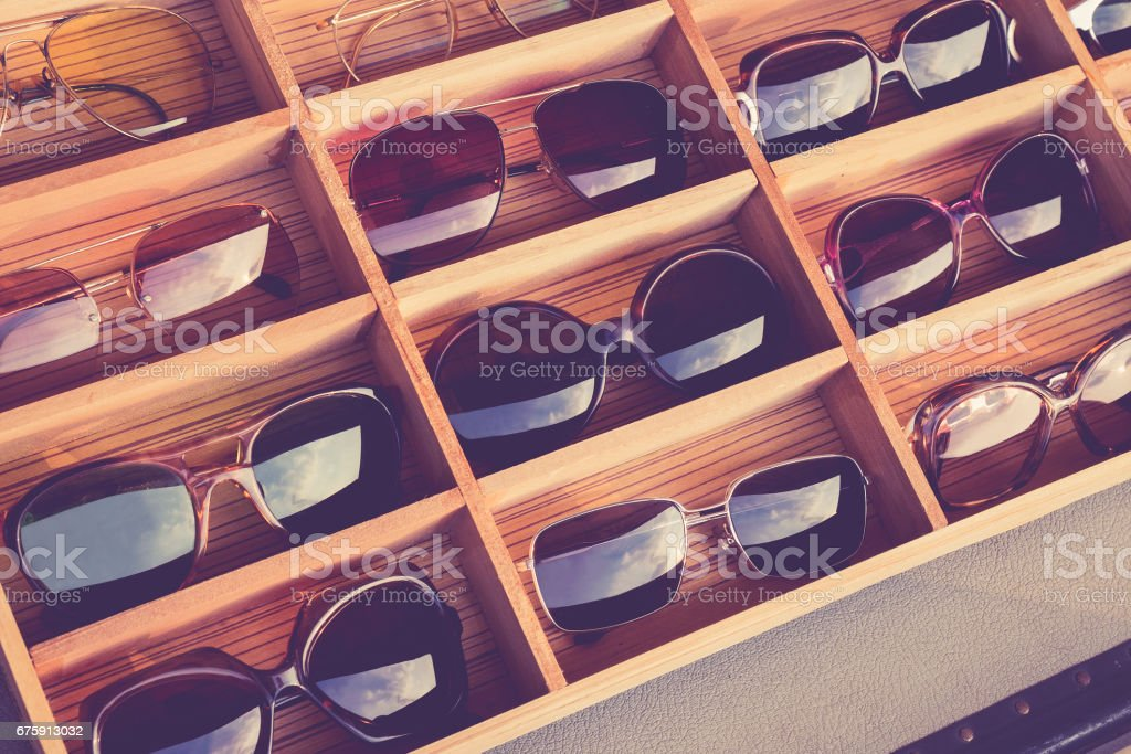 Sunglasses Fashion in wooden box Shop Hipster Lifestyle stock photo