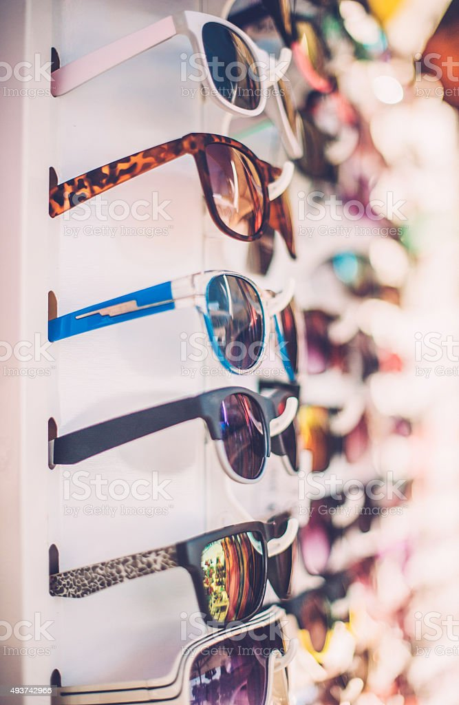 Sunglasses in outdoors market stock photo