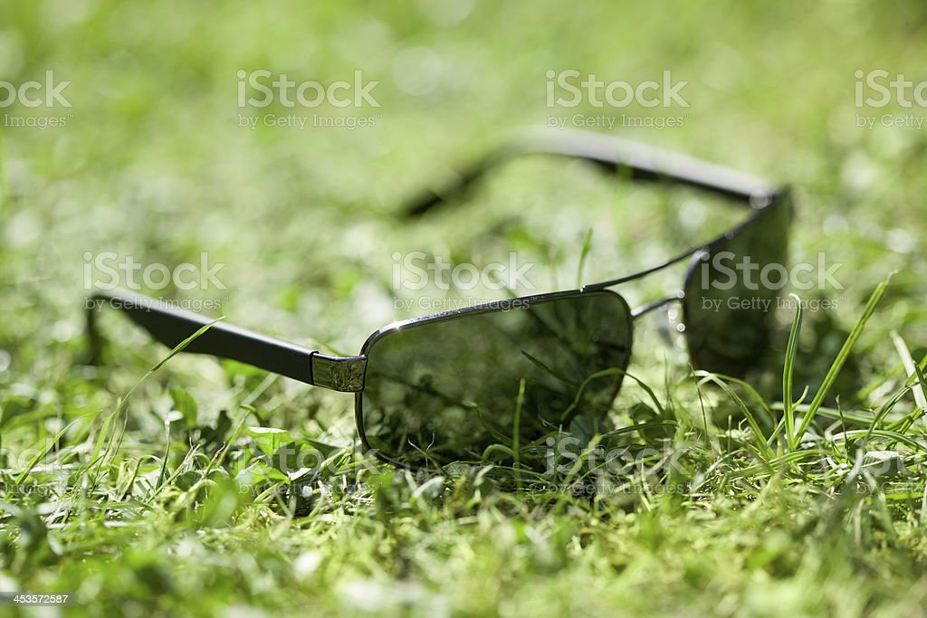 Sunglasses in the Grass royalty-free stock photo