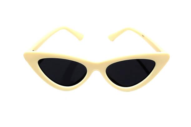 고양이 눈, 흰색 바탕에 여자의 패션의 모양에서 선글라스. - 선글라스 뉴스 사진 이미지