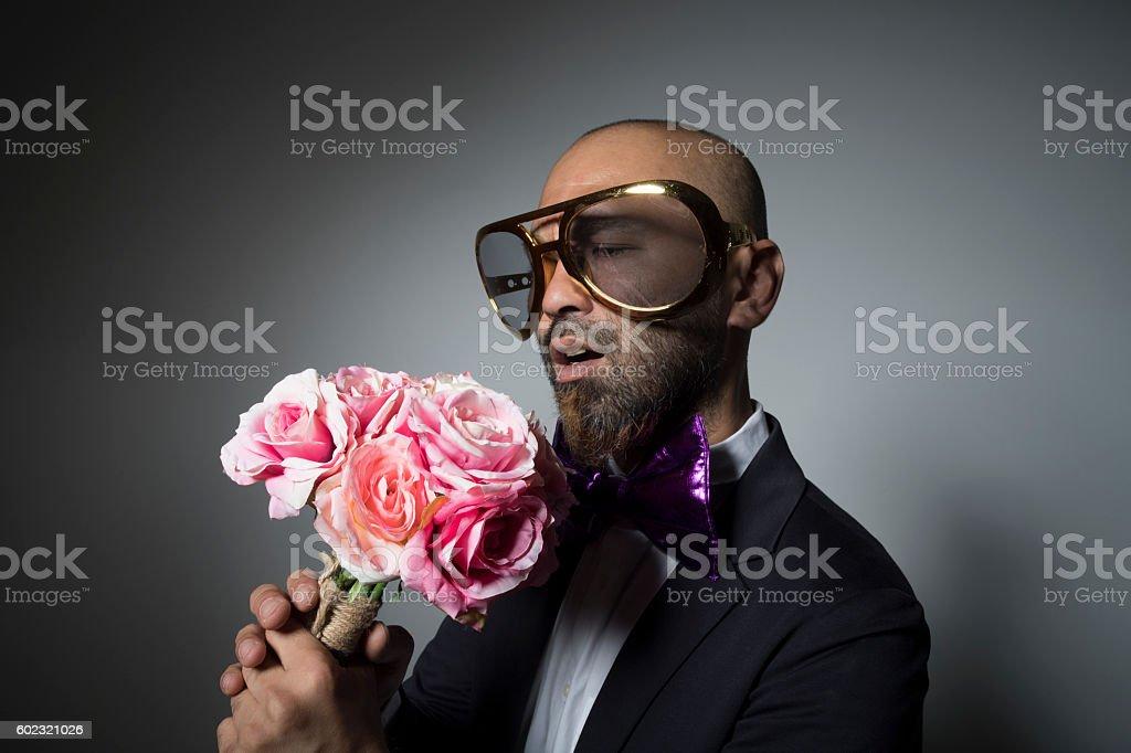 Sunglasses man living happily. stock photo