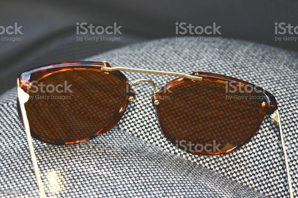 Sunglasses on Car Seat royalty-free stock photo
