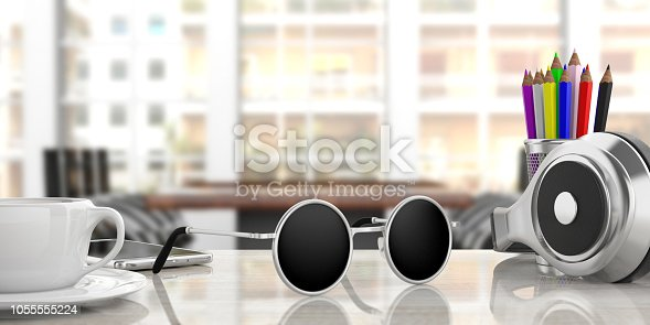 Dreaming summer vacation at work. Sunglasses on office desk, blur business background, 3d illustration