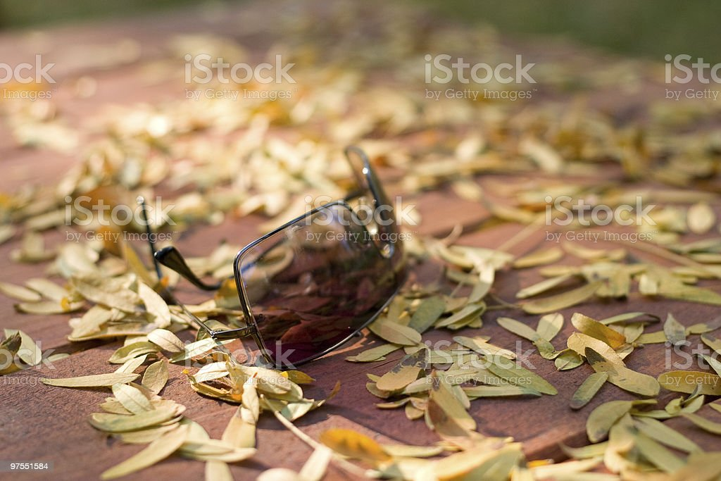 Sunglasses on wooden table with yellow leaves royalty-free stock photo