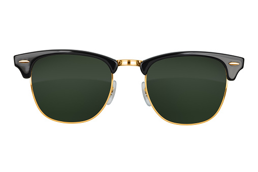 Old fashion browline sunglasses isolated on white background. With clipping path