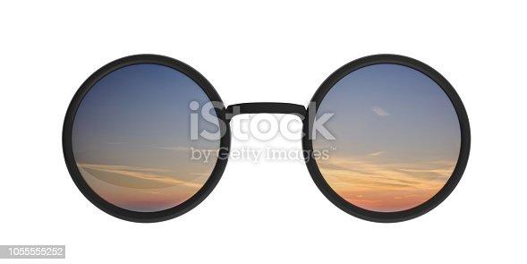 Sunset, sunrise concept. Sunglasses round metallic black with sunrise sunset mirrored on lens, cutout, isolated on a white background, 3d illustration