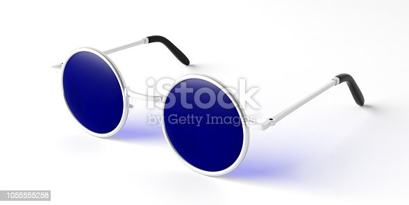 Summer concept. Sunglasses round metallic with blue lens, side view, isolated on a white background, 3d illustration.