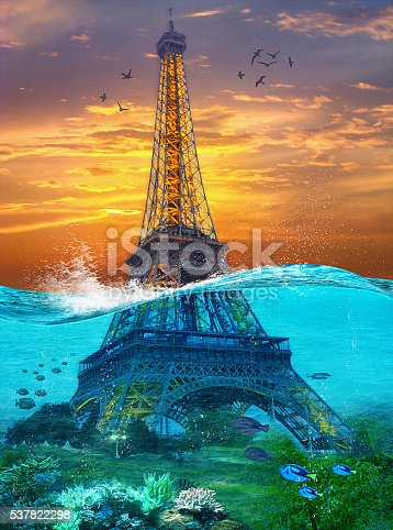 istock Sunk Eiffel Tower. Surreal illustration in soft oil painting style 537822298