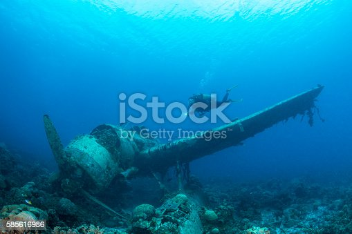 This navy floatplane, an Aichi E13A1-1 or Jake type reconnaissance seaplane is one of the most intact wrecks in Micronesia, resting at 45 feet (15m). Beautiful scenario of a II WW Japanese seaplane sunken and a female scuba diver in Palau - Micronesia. The Jake could be found in many lagoons where the land mass did not support an airfield, but they also operated from cruisers and battleships. Two of the planes can be seen (in Palau) in very shallow waters in a cave of Babelthuap.