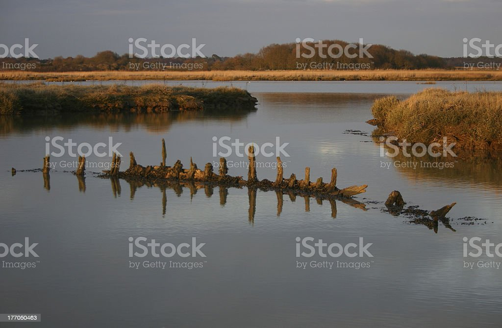 Sunken boat royalty-free stock photo