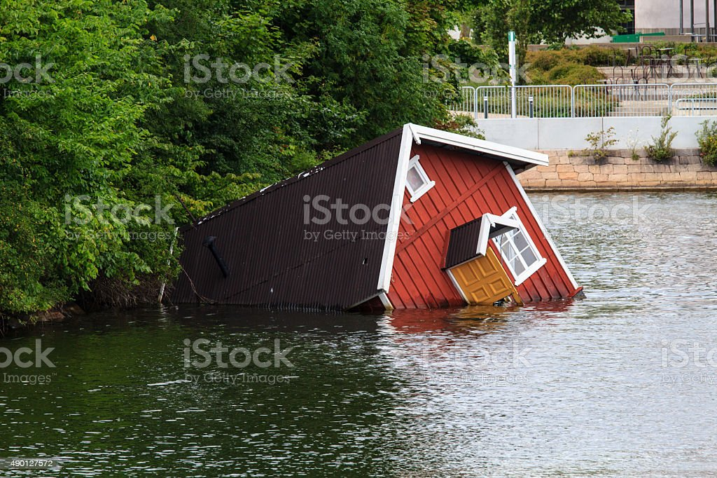 Sunken house stock photo