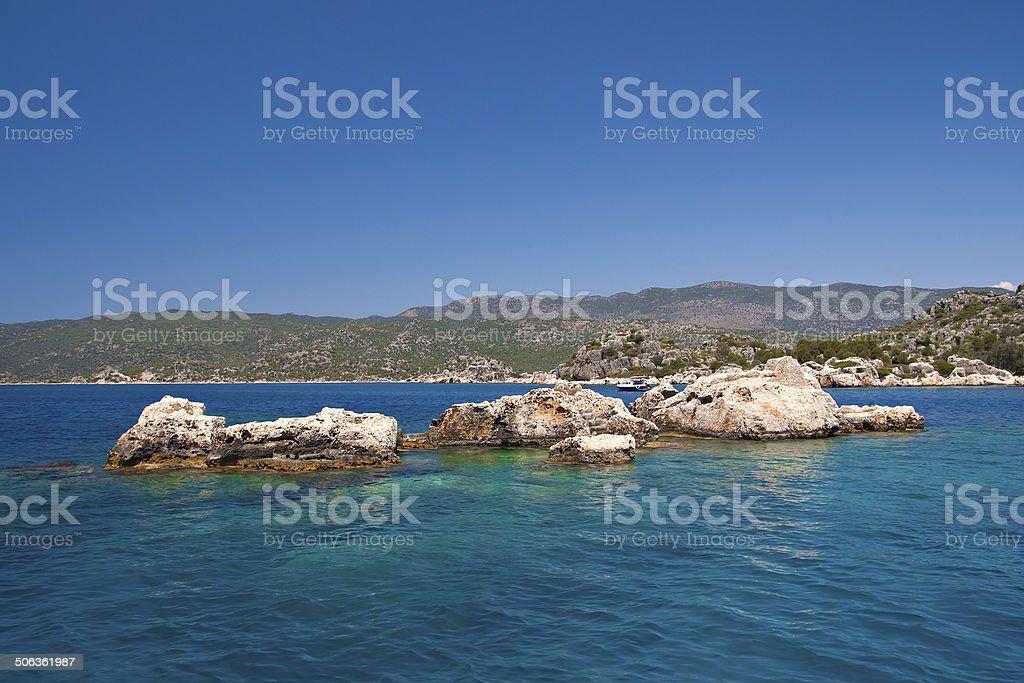 Sunken Lycian city on the Kekova island stok fotoğrafı