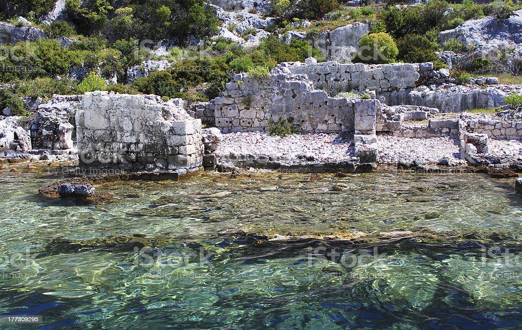 Sunken Lycian city on the Kekova island, Turkey stok fotoğrafı