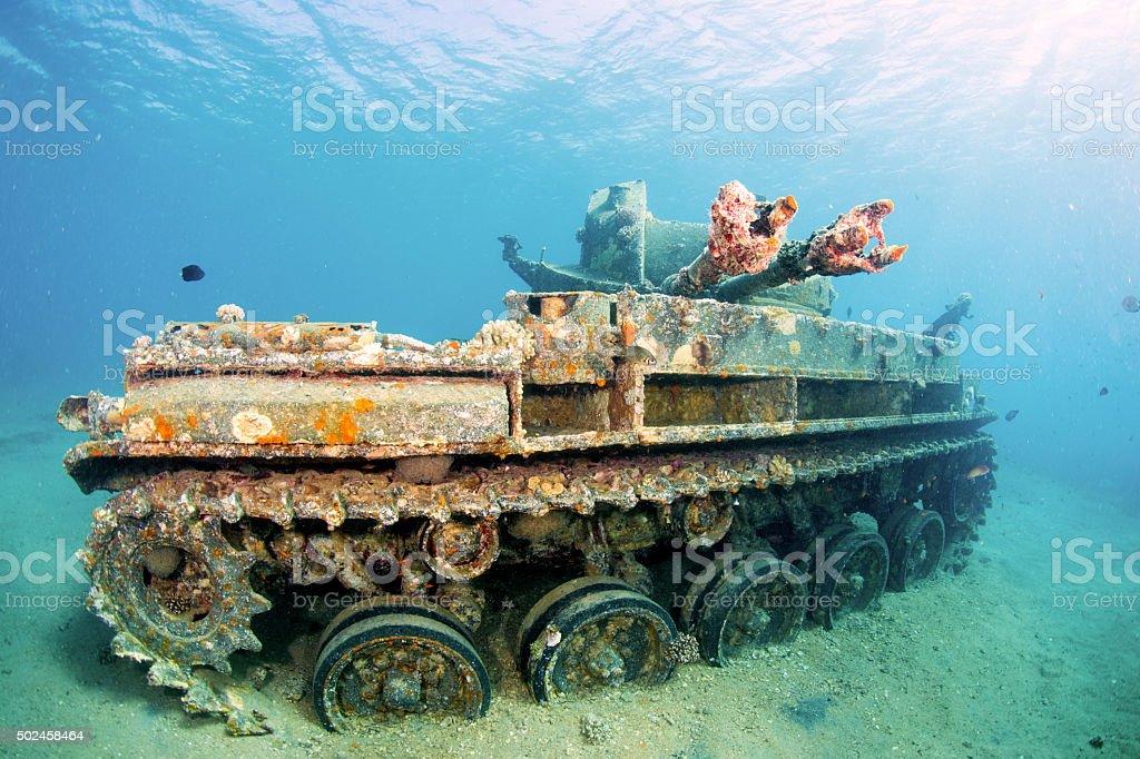 Sunken M42 Duster American Tank royalty-free stock photo