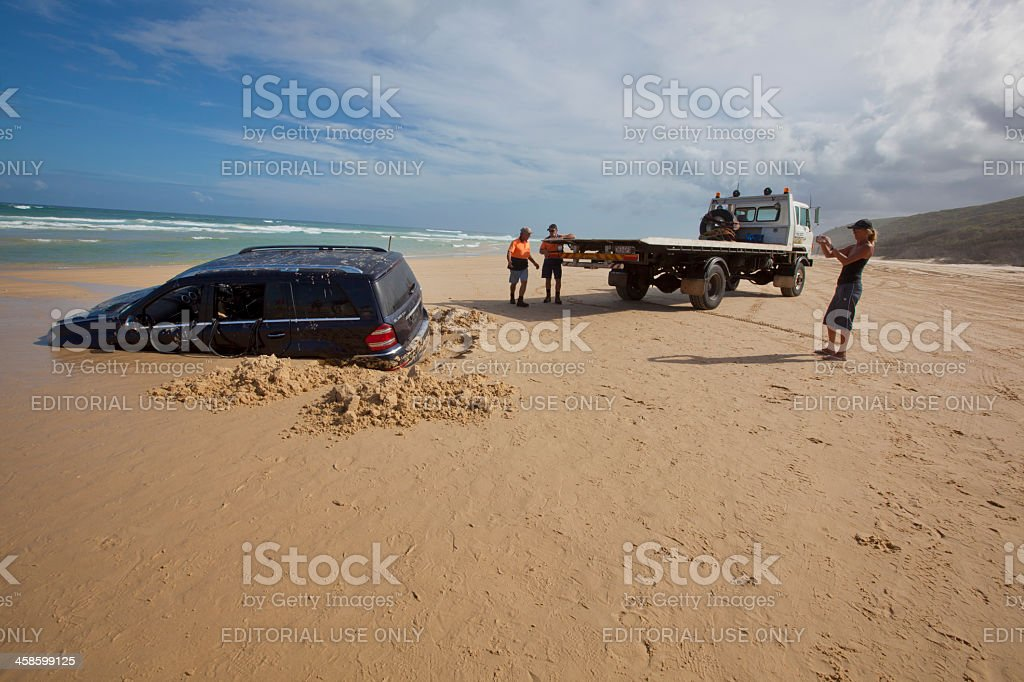 Sunken Mercedes in Fraser Island, Australia royalty-free stock photo